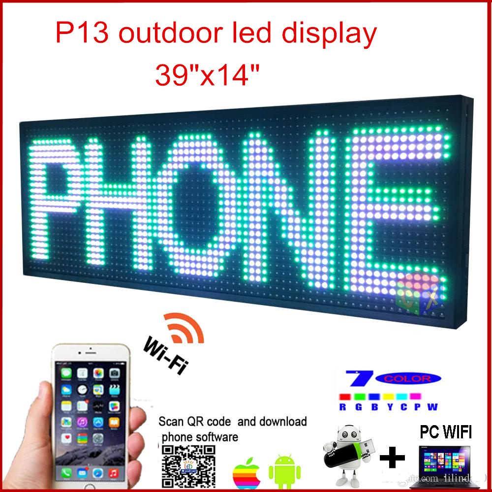 LED Programmable Electronic P13 RGB COLOR OUTDOOR Sign LED Display 39 X 14 USB + Phone WIFI Control Open Running Message BoardLED Programmable Electronic P13 RGB COLOR OUTDOOR Sign LED Display 39 X 14 USB + Phone WIFI Control Open Running Message Board