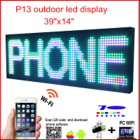 LED Programmable Electronic P13 RGB COLOR OUTDOOR Sign LED Display 39 X 14 USB + Phone WIFI Control Open Running Message Board