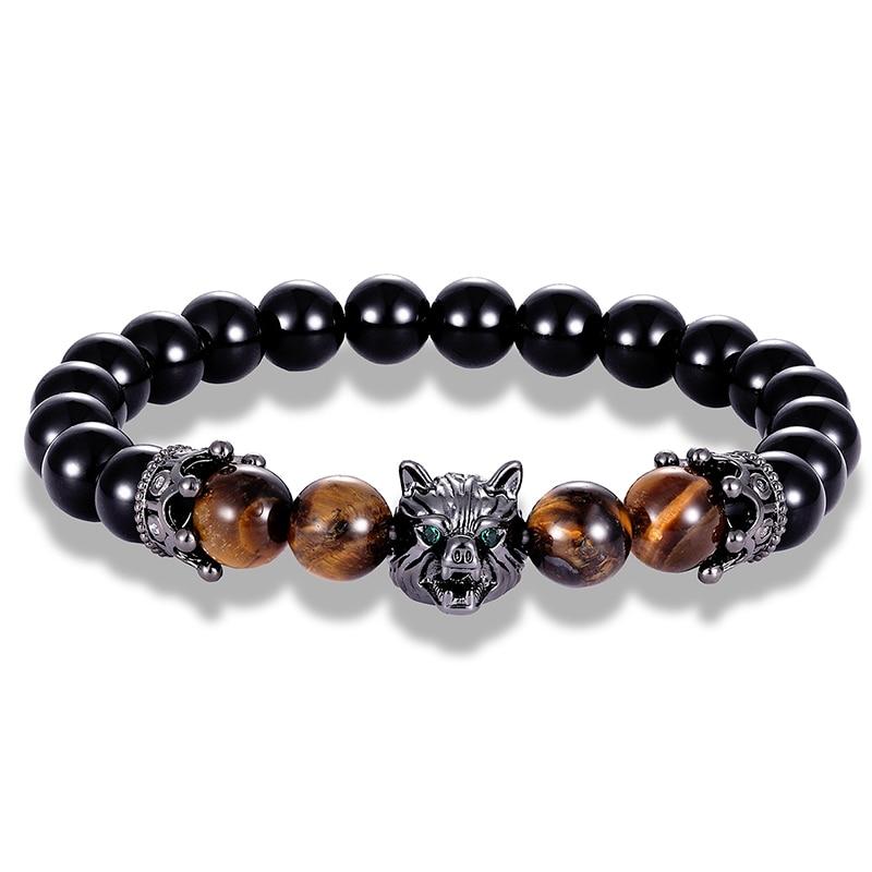 LIVVY Glamour Wild Wolf Head with CZ Crown Natural Stone Bracelet Animal Rivet Bracelet Men's Accessories Valentine's Day Gift