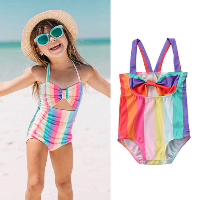 3c4867068c04e Kids Baby Girl Bow Stripe Swimsuit Rainbow Swimwear Bathing Suit Girls  Beachwear Hollow Bikini 1Pc. 1 order