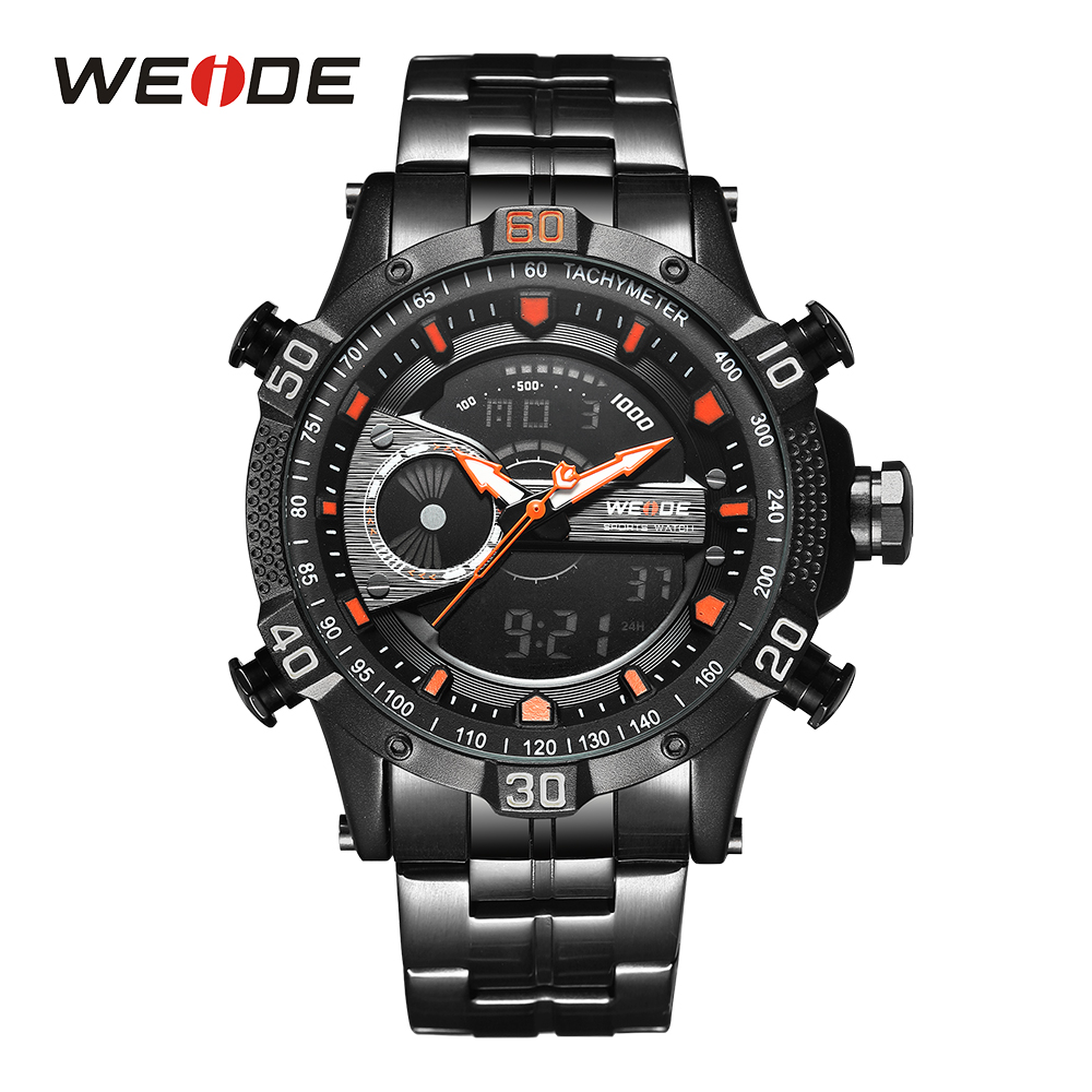 все цены на WEIDE Men Sport Watch Waterproof Black Orange Chronograph Alarm Date Analog Clock Quartz Movement Wristwatch Relogio Masculino