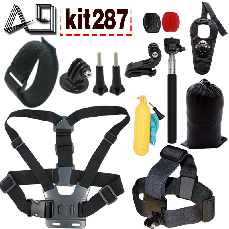 A9 for GoPro Accessories Set Head Chest Mount Floating Monopod Wrist Strap For Go Pro Hero