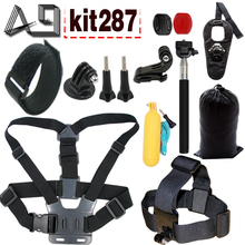 A9 for GoPro Equipment Set Head Chest Mount Floating Monopod Wrist Strap For Go Professional Hero Four SJCAM SJ4000 Xiaomi yi Eken H9