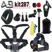 GoPro Accessories Set Head Chest Mount Floating Monopod Suction Cup Wrist Strap For Go Pro Hero