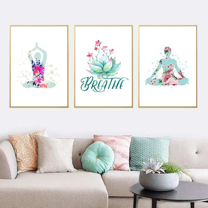 Nordic Minimalist Watercolor Yoga Art Canvas Painting Posters And Prints Wall Pictures For Living Room Home Decoration No Framed