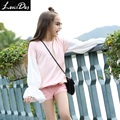 LouisDog 2016 Autumn flare sleeve pink white blouse teenager kids girls fashion pullover tops size 6-16Y