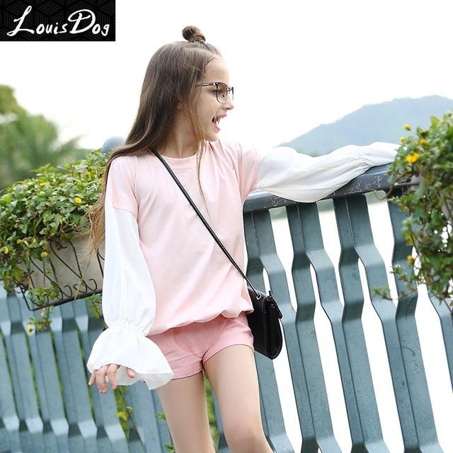 Louisdog 2016 otoño flare blusa adolescente niños niñas moda blanco rosa de manga pullover tops tamaño 6-16y