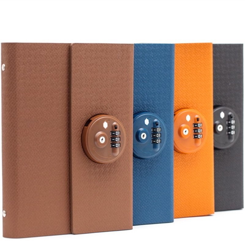 23x18cm retro A5 leather hardcover notebook lockable secret password student gift with a locked diary office school supplies creative a6 diary with lock pu leather flower notebook school supplies lockable password writing pads notebook girl women gift