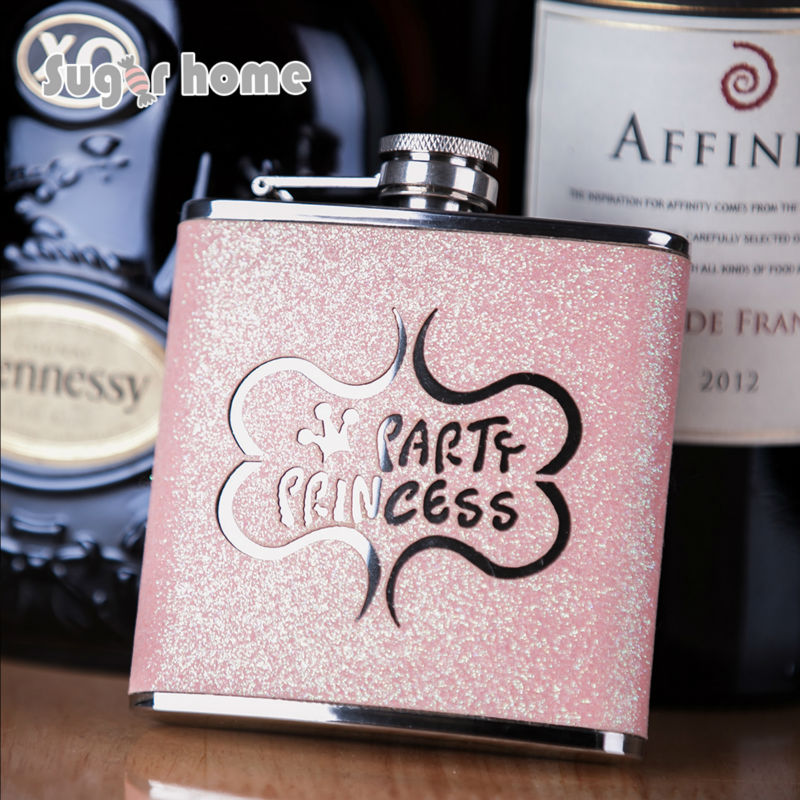 Mealivos princess party Flasks 6 oz Stainless Steel Hip Flask drinkware Flask for Alkohol Wiski botol minuman keras hadiah pengiring pengantin