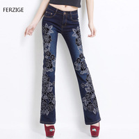 Women Embroidered Beaded Jeans Rhinestone Bell Bottom Flared Pants Elasticity Luxury Sexy Ladies High Waist Push Up Female Jeans 22