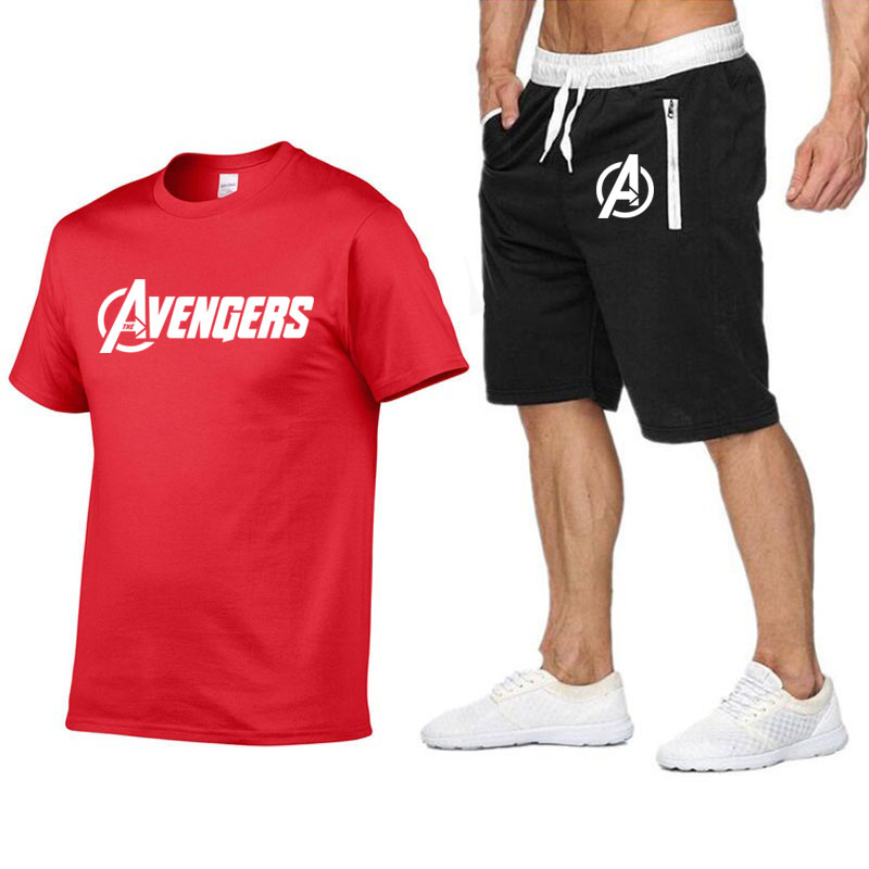 Avengers new tshirt cotton suit jacket shorts two piece summer sports suit jacket T shirt final battlet shirt men in T Shirts from Men 39 s Clothing