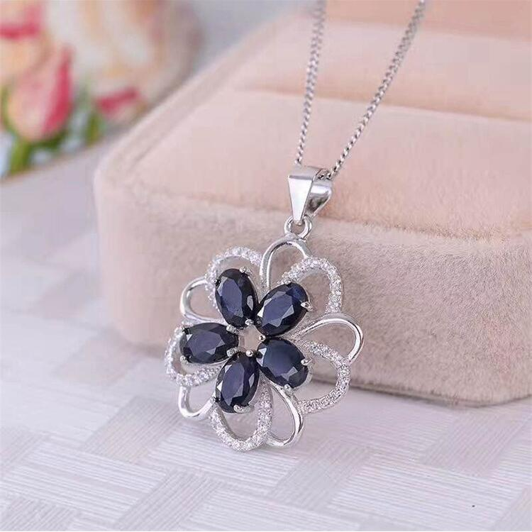 Flower pendant Natural sapphire necklace pendant Free shipping 925 sterling silver 4*6mm*5pcs gems Flower pendant Natural sapphire necklace pendant Free shipping 925 sterling silver 4*6mm*5pcs gems