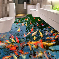 PVC Self Adhesive Waterproof 3D Floor Murals Goldfish Pond Photo Wall Paper Sticker Bathroom Kitchen Home