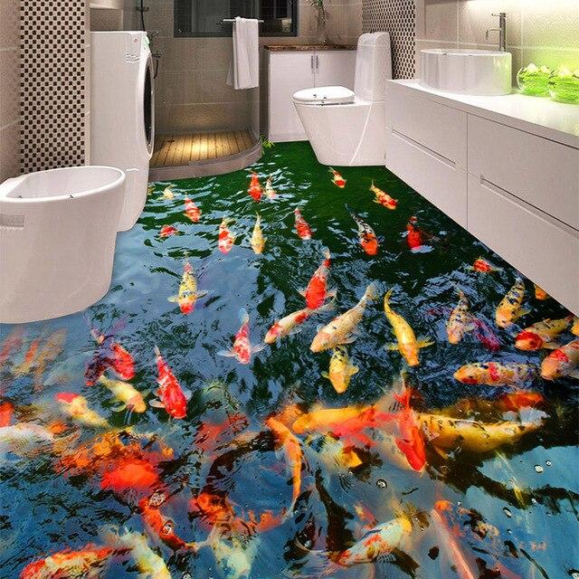 Pvc Self Adhesive Waterproof 3d Floor Murals Goldfish Pond