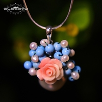 GLSEEVOS 925 Sterling Silver Big Freshwater Pearl Pendant Necklace Coral Pink Flower Women's Necklaces Link Tophus Beads GN0002