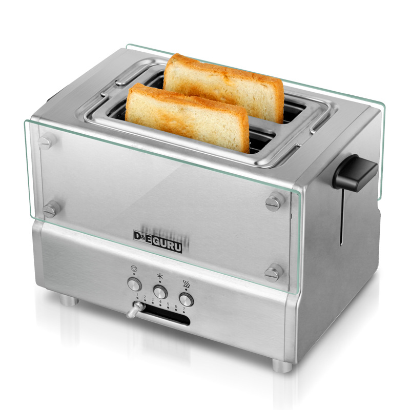New Household Fully Automatic Toaster Stainless Steel With Grill Bread Baking Machine Breakfast Machine EU Plug Good Quality cukyi 2 slices bread toaster household automatic toaster breakfast spit driver breakfast machine