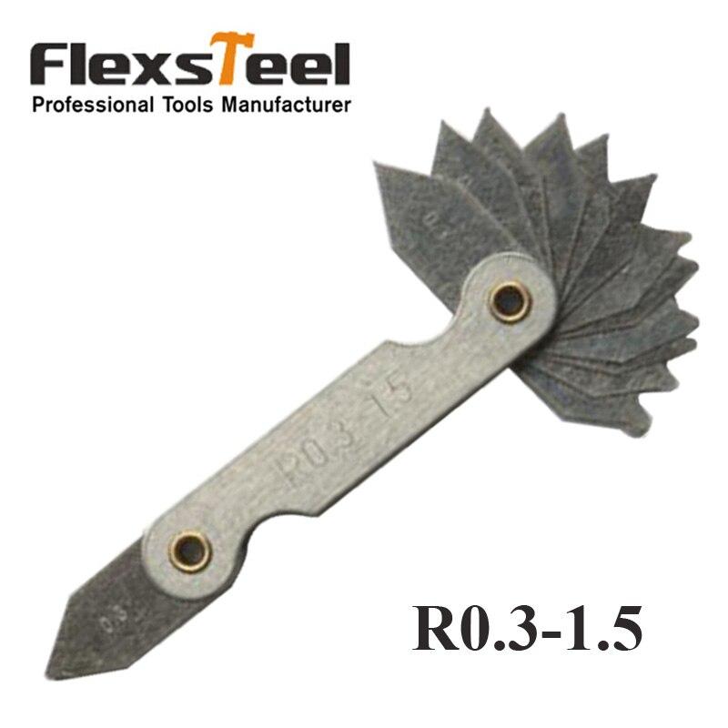 R0.3-1. 5mm R Calibre Bolso Motores Medir Ferramenta de Metal Dobrar Lâminas de Raio Calibre Substituição de Medição & Aferição ferramentas