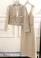 women vestidos de fiesta elegant office dress tweed roupas feminina classic elegant slim long dress and wool jacket 2 piece set