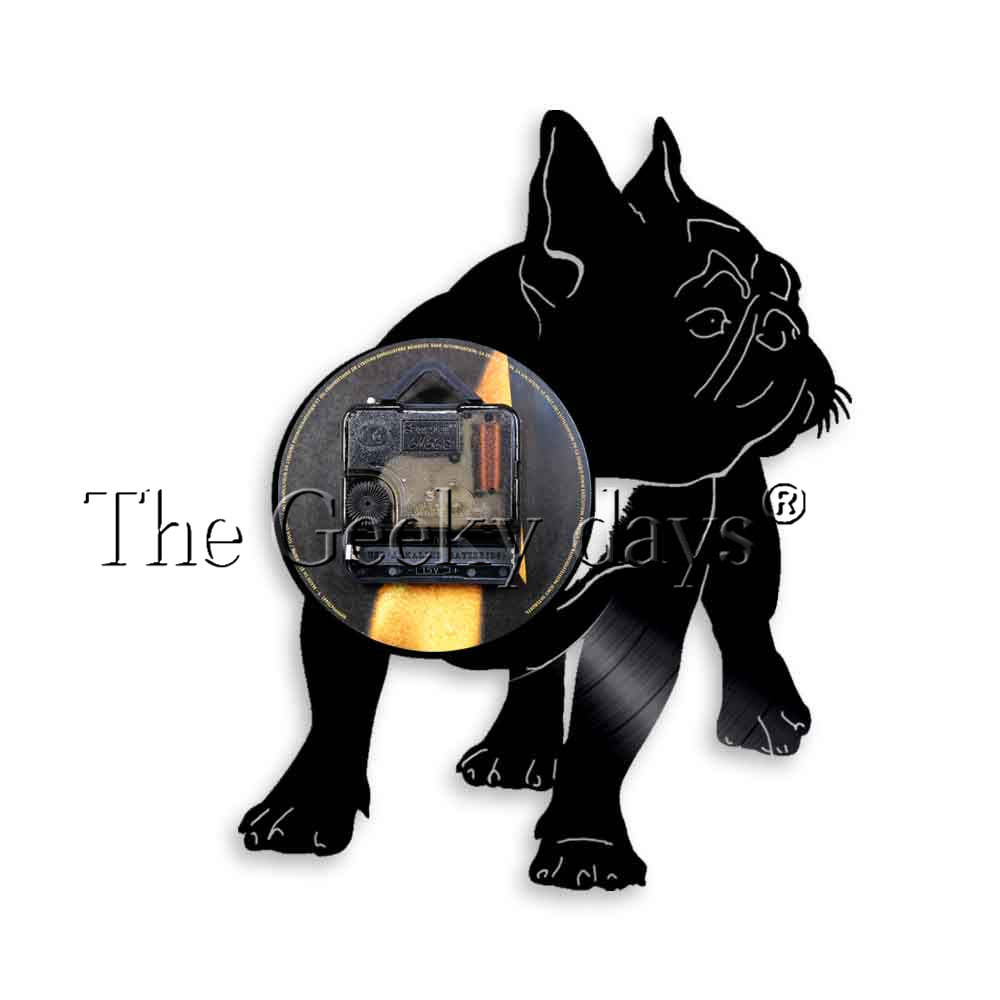 French Bulldog Silhouette Wall Art Wall Clock Frenchie Vinyl Record Wall Clock Dog Breeds Puppy Pet Home Decor Dog Lovers Gift