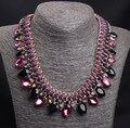 Amethyst necklace korean new 2015 luxury elegant women wedding accessories wholesale/gros collier femme/neckless/colar/collana