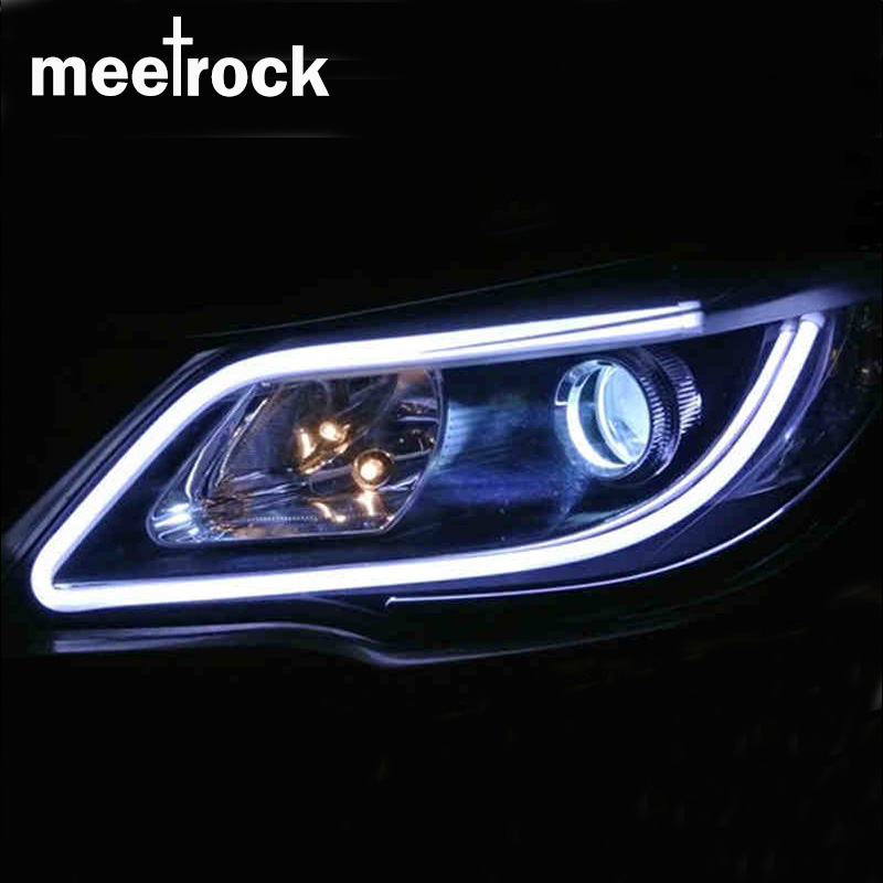 Meetrock 2pcs 60cm silicagel LED DRL turn signals external light daytime running light auto 12V SMD COB car-styling