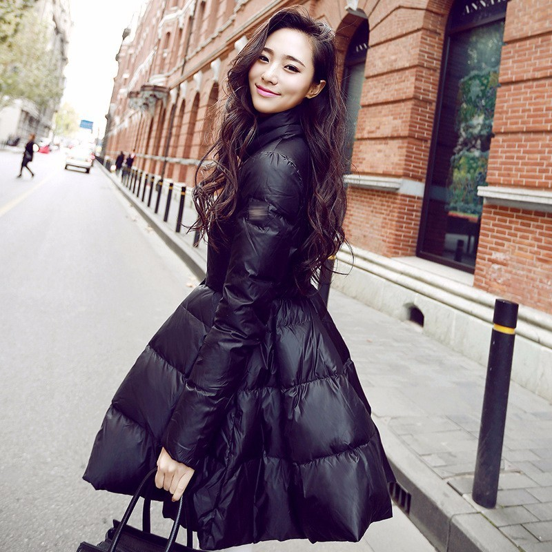 SHENGPALAE 2019 nouveau hiver automne manteau noir col montant grand ourlet mode marée femmes Vintage garder au chaud mince veste FF510