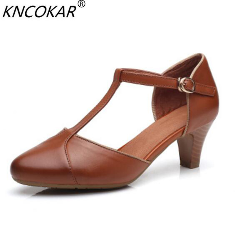 KNCOKAR  2018 summer new top layer cowhide restoring ancient ways thick heel comfortable high-heeled shoesKNCOKAR  2018 summer new top layer cowhide restoring ancient ways thick heel comfortable high-heeled shoes