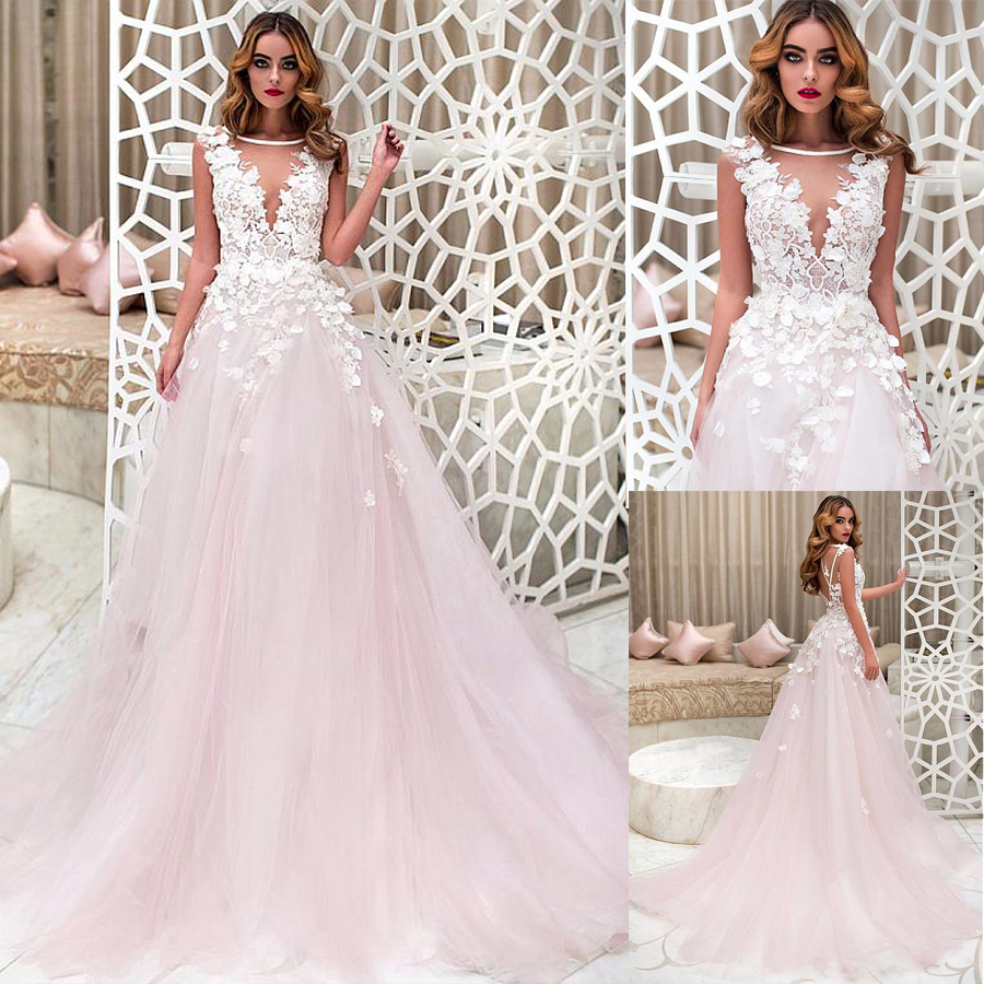 Fantastic Tulle Bateau Neckline A-line Wedding Dresses With Lace Appliques & 3D Flowers See Through Bridal Dress