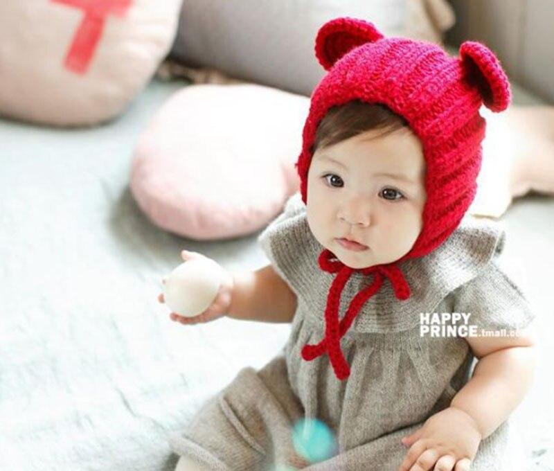 ᓂNiños y Niñas tejer sombrero oídos Oso de lana gorro Baotou ...