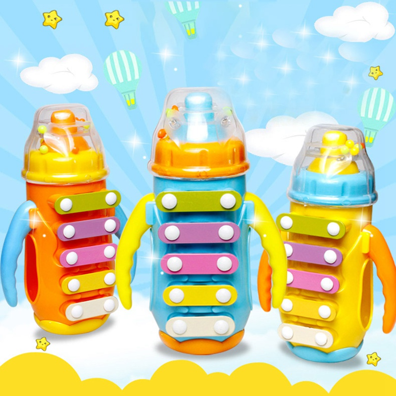 Random Color Initiation Toy Piano Music Bottle With Bell Baby Early Education Children`s Knock Instrument