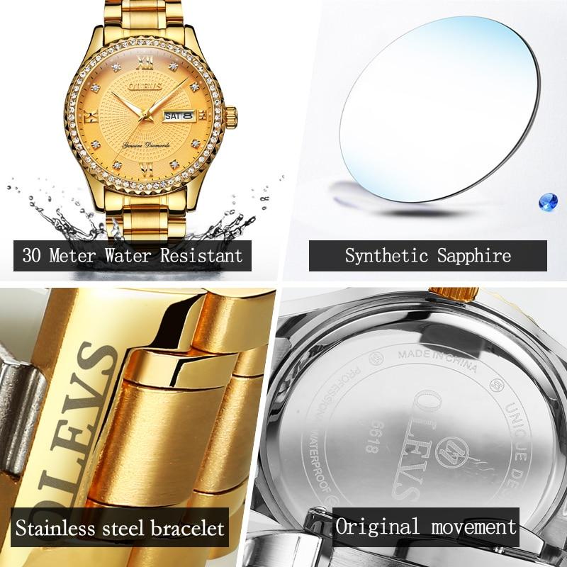 OLEVS Férfi karórák Top márka luxus teljes acél arany kvarc - Férfi órák - Fénykép 6