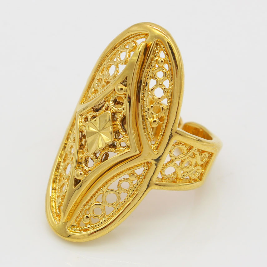 Adjustable Size Gold Color Rings Women Wedding Jewelry