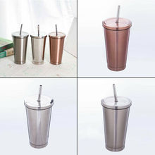 500 ML Stainless Steel Cup Portable Travel Tumbler Coffee Mug With Drinking Straw 2019 New