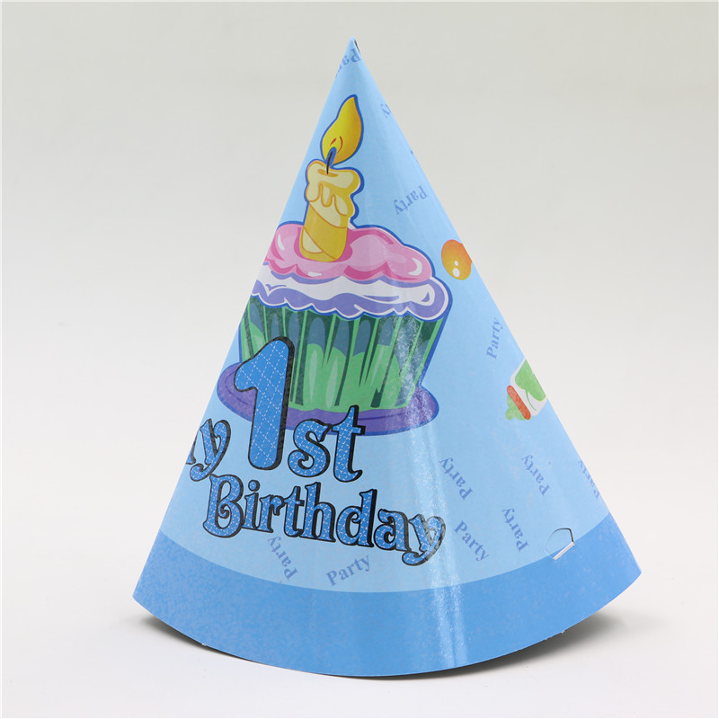 8 Pcs Lot Boy Favor Cartoon Theme 1st Birthday Party Hat With String Blue Cone Paper Enent Supplies Cap