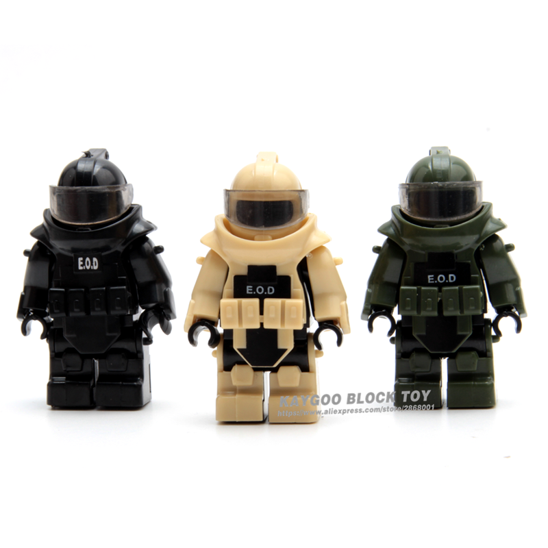 MOC Gun Bomb Disposal Unit Body Armor Military Weapon Army Soldiers Building Blocks Toys For Children Best Gift