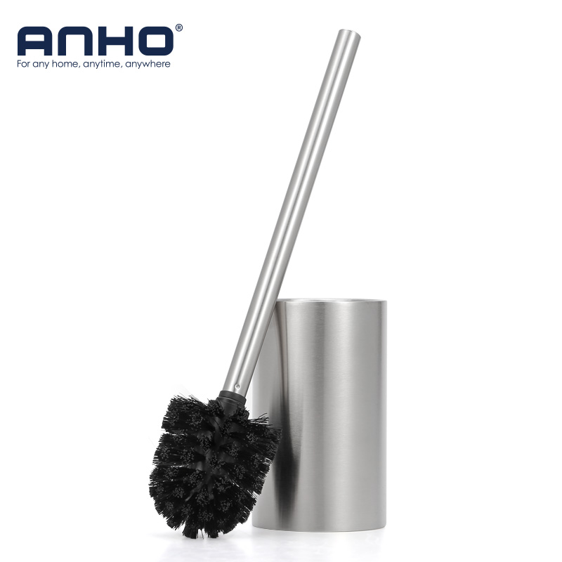 ANHO Strong Decontamination Toilet Brush Set Stainless Steel Cleaning Brush Holder Kit WC Bathroom Cleaning Accessories