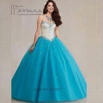 784eda6ad Fancy Fushcia Turquesa vestido de Bola Baratos Vestidos de Quinceañera 2017  Vestido de Fiesta de Los Rhinestones para 15 Años Debutante vestido de Tul