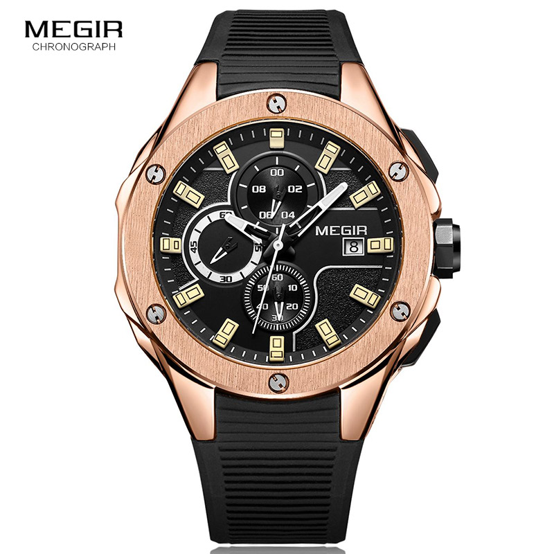 MEGIR Mens Sport Watch Chronograph Silicone Strap Quartz Army Military Watches Clock Men Top Brand Luxury Male Relogio Masculino reef tiger brand men s luxury swiss sport watches silicone quartz super grand chronograph super bright watch relogio masculino