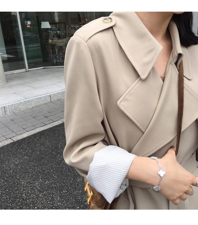 Spring Autumn Maxi Long Women's Loose Trench Coat With Belt Khaki & Black Plus Size Korean Style Windbreaker Outwear 15