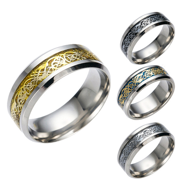 Dragon Scale Pattern Beveled Edges Celtic Rings Jewelry Wedding Band For Men 4 Ring 1