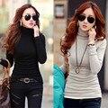 2015 de otoño e invierno las mujeres de cuello alto camisa básica femenina de manga larga de terciopelo engrosamiento de algodón delgado de la camiseta térmica top
