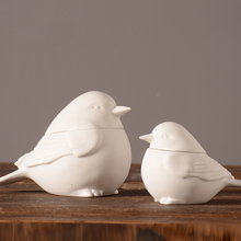 Modern Simple White Bird Ceramic Jewelry Storage Box Creativity Animal Statue Desktop Crafts Sculpture Home Decoration 116