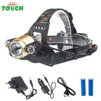 8000 Lumens Headlamp CREE XML T6 3xLED Headlight 18650 Rechargeable Head Flashlight Zoom 360 Degree Torch