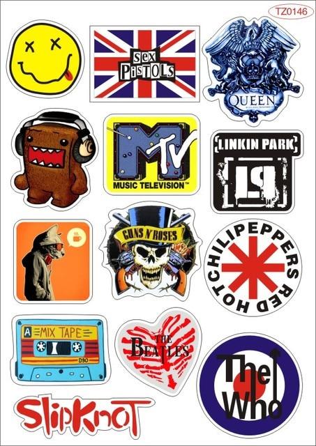 Pop Rock Music Band Logo PVC Waterproof  sticker bomb Luggage Suitcases Guitar Skateboard laptop stickers Car Styling