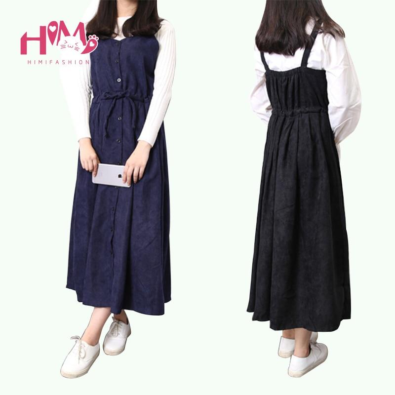 2017 Japanese Vintage Women Strap Long Dresses Korean Fashion Corduroy Cute Suspender Maxi Dress Mori Girl