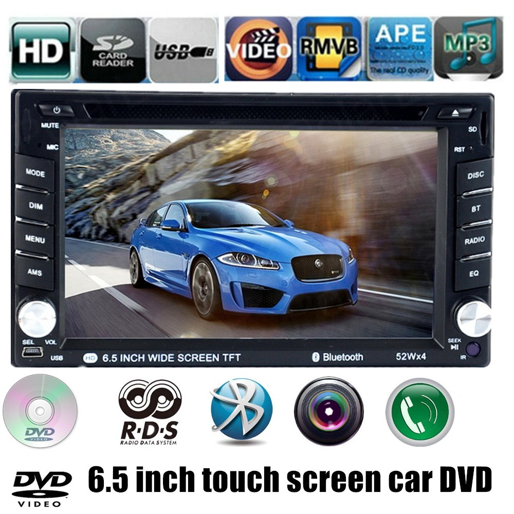 Touch screen 7 languages support AM FM RDS bluetooth rear view camera universal 6.5 inch 2 din Car DVD Player  MP4 MP5 player