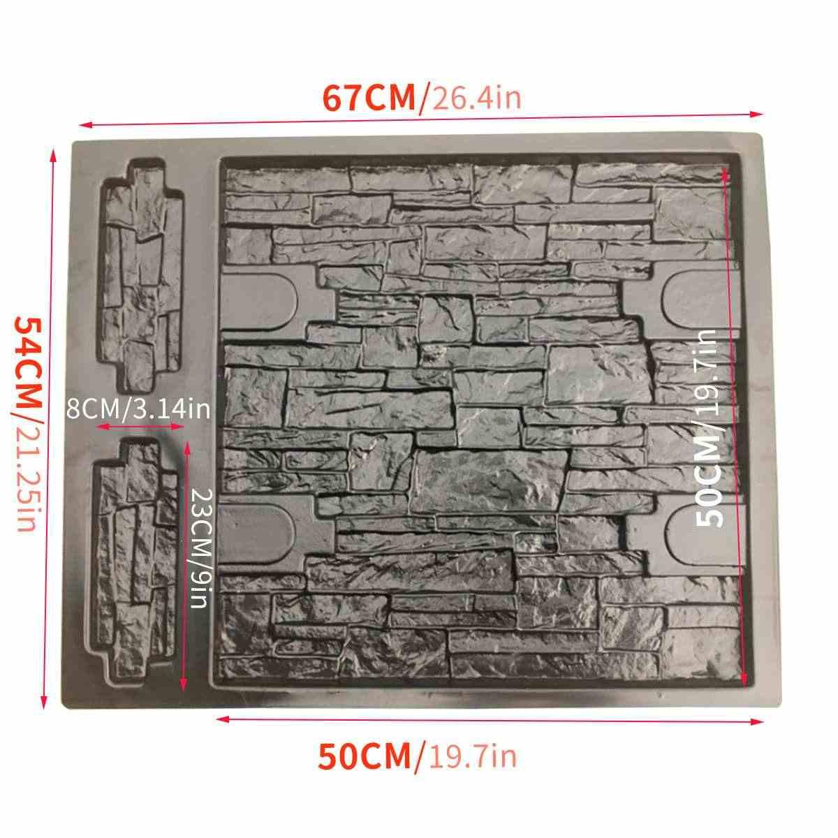 68.5*49cm Concrete Molds Plaster Wall Stone Cement Tiles Mould Brick DIY