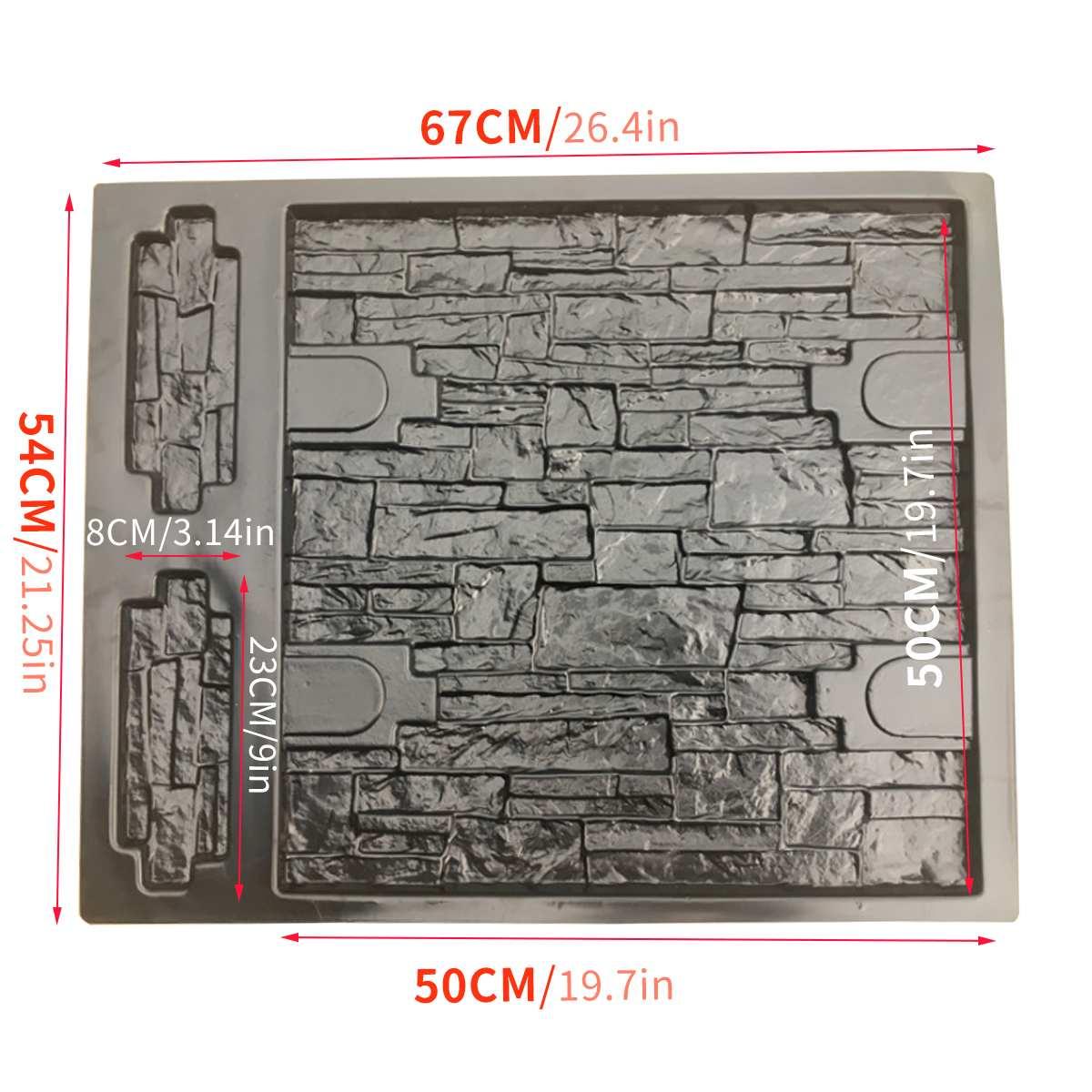67*54*2CM Embossed Paving Mold Garden Decorative Path Driveway Wall Stone Concrete Cement Mould Brick DIY Buildings Irregular
