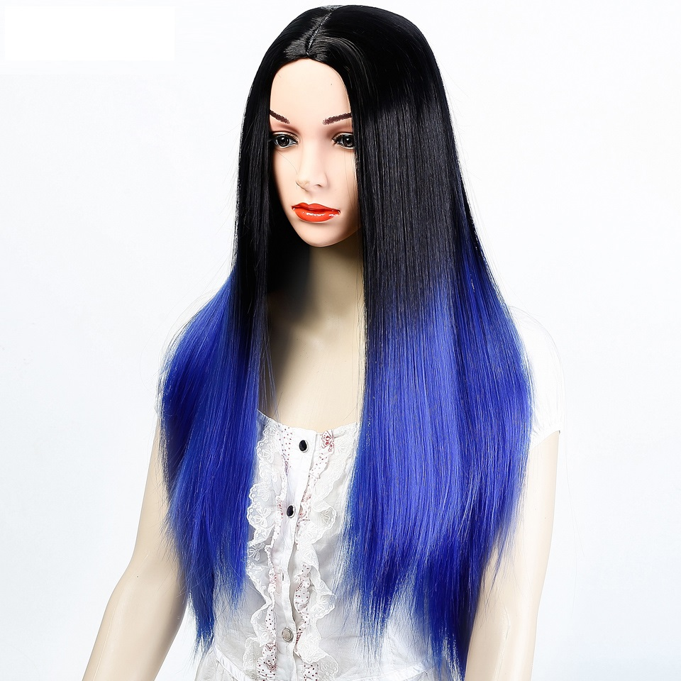 DIFEI Womens Omber Wig Long Straight High-Temperature Synthesizing Cospaly Wig Halloween Party Wig ...