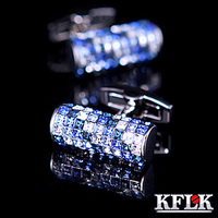 KFLK Luxury New shirt cufflink for mens Brand cuff buttons Austria Blue and White Crystal cuff link High Quality Jewelry